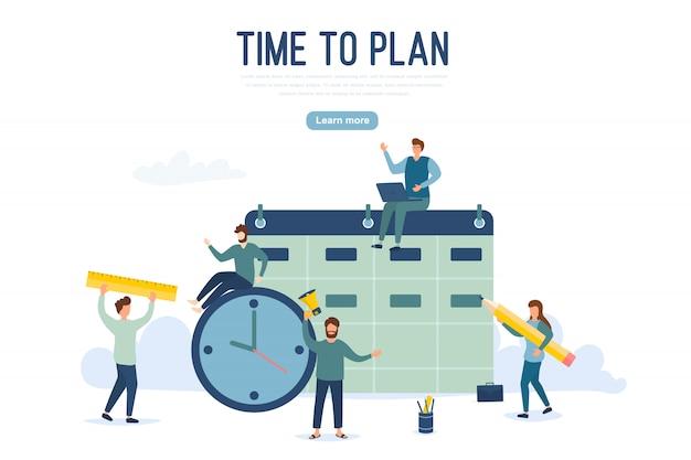 Concept de planification de personnes. un groupe de personnages est en train d'élaborer un plan. gestion de projet et stratégie de reporting financier. peut être utilisé pour la bannière web, les infographies, les images de héros. illustration.