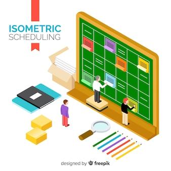 Concept de planification avec perspective isométrique