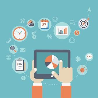 Concept de planification de stratégie d'entreprise illustration design plat. toucher la main graphique graphique sur tablette écran avec des icônes autour