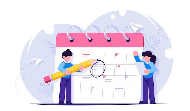 Concept de planification des tâches pour la semaine, le mois.