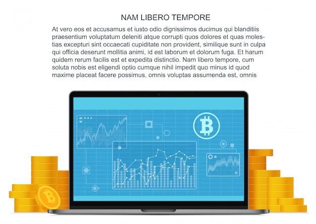 Concept plat de bitcoin avec ordinateur portable et pièces d'or. financement en ligne. investissements bitcoin et technologie blockchain.
