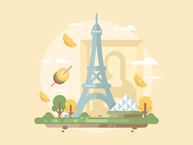 Concept plat de conception de paris. structure du monument de la tour eiffel. illustration vectorielle