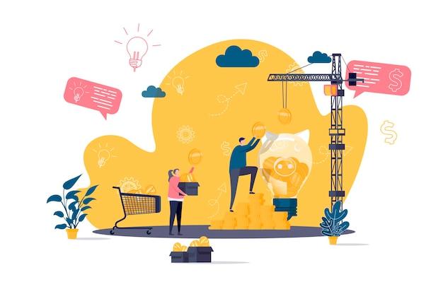 Concept plat de financement participatif avec illustration de personnages de personnes