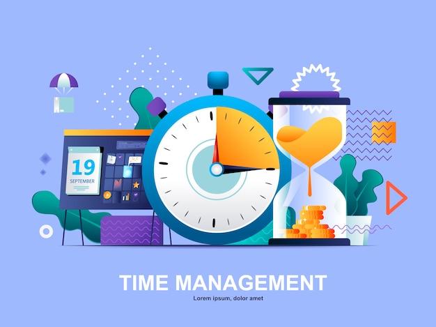 Concept plat de gestion du temps avec modèle d'illustration de dégradés