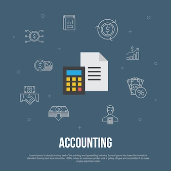 Concept plat d'interface utilisateur à la mode de comptabilité avec des icônes de ligne simples. contient des éléments tels que l'actif, le rapport annuel, le revenu net, le comptable, etc.