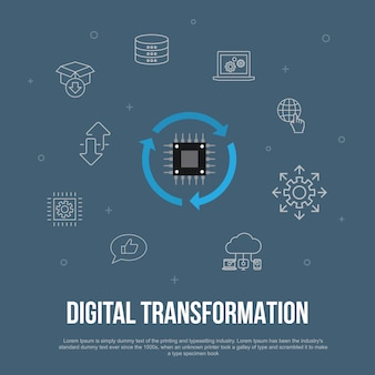 Concept plat d'interface utilisateur à la mode de la transformation numérique avec des icônes de ligne simples. contient des éléments tels que les services numériques, internet, l'informatique en nuage, la technologie, etc.