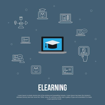 Concept plat d'interface utilisateur tendance elearning avec des icônes de ligne simples. contient des éléments tels que l'apprentissage à distance, la formation en ligne, la formation vidéo, le webinaire et plus encore