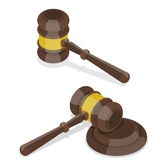 Concept plat isométrique 3d du juge gavel