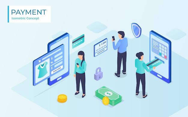 Concept plat isométrique de réception, paiement en ligne, transfert d'argent, portefeuille mobile.