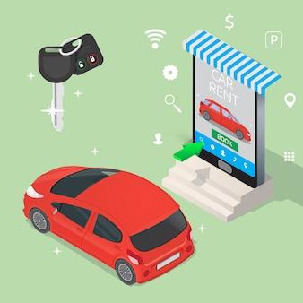 Concept plat isométrique de service de location de voitures en ligne