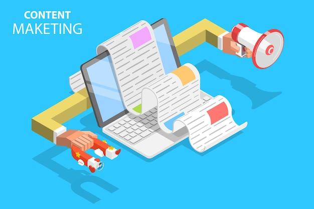 Concept plat isométrique de stratégie de contenu