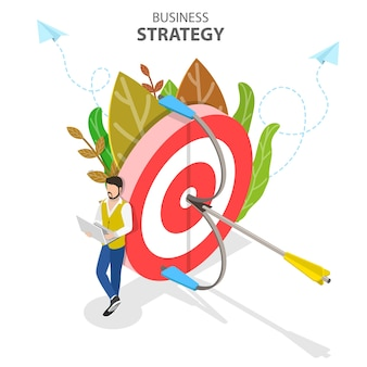 Concept plat isométrique de stratégie d'entreprise, planification de la croissance, objectif financier.