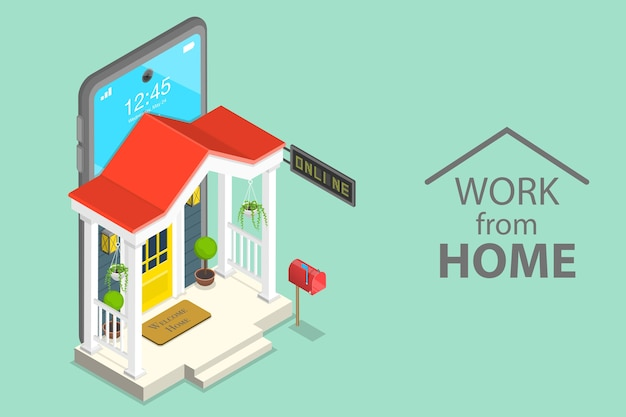 Concept plat isométrique de travail à domicile, auto-isolement pendant la pandémie covid-19, éducation en ligne.