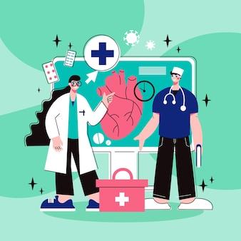 Concept plat de médecine en ligne avec infirmière médecin et coeur humain sur écran d'ordinateur