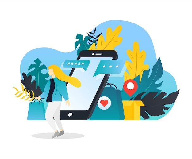 Concept plat moderne de magasinage en ligne pour le développement de sites web mobiles.