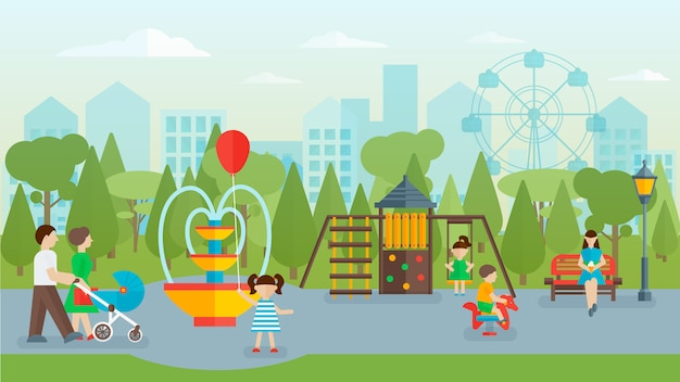 Concept plat de parc de la ville