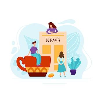 Concept plat de personnes lisant le journal avec des nouvelles du monde avec une tasse de café. texte abstrait avec de minuscules personnages isolés sur fond blanc pour une affiche ou une carte. illustration vectorielle.