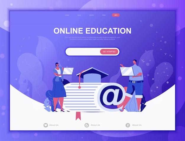 Concept plat de processus d'éducation, modèle web de page de destination