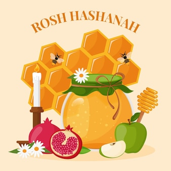 Concept de plat rosh hashanah