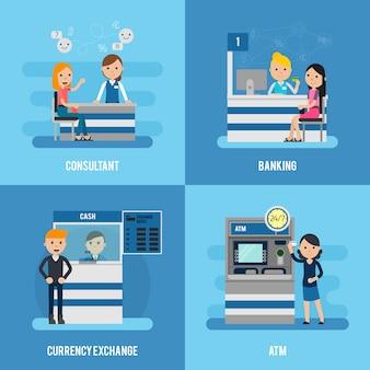 Concept plat de service bancaire