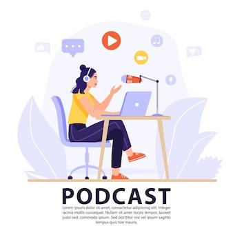 Concept de podcast ou d'entrevue.