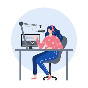 Concept de podcast. femme au casque enregistrant un podcast dans un studio. illustration plate.