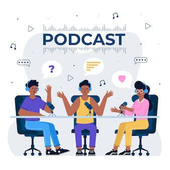 Concept de podcast avec des gens qui discutent
