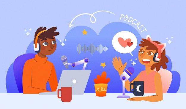Concept de podcast hôte et journaliste