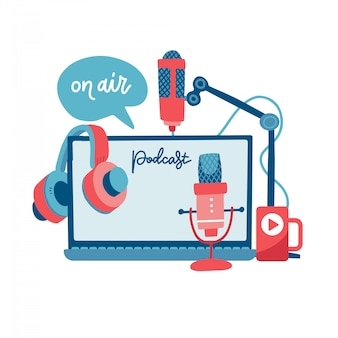 Le concept de podcast de signe d'air. enregistrez des appareils de studio - écouteurs, microphone, casque, ordinateur portable. médias et divertissement. éléments de nouvelles, de radio et de télévision. illustration plate.
