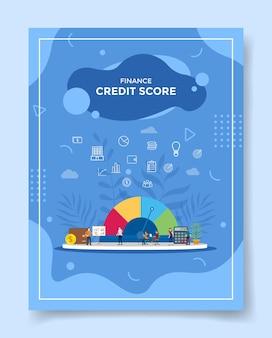Concept de pointage de crédit financier pour le modèle de flyer