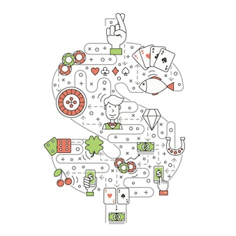 Concept de poker dans le style de ligne plate