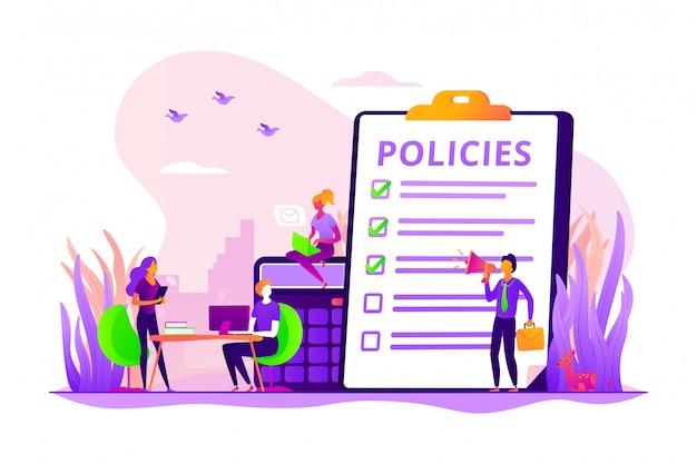 Concept de politiques d'entreprise.