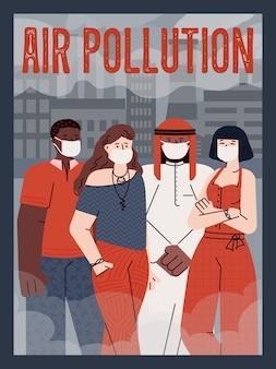 Concept de pollution de l'air et de contamination environnementale une affiche