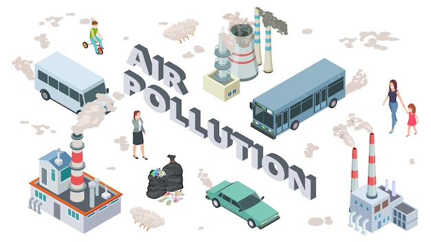 Concept de pollution atmosphérique. polluants chimiques véhicule air pollué. personnes et plantes isométriques