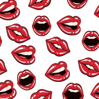 Concept de pop art représenté par le fond de la bouche féminine