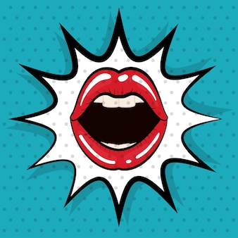 Concept de pop art représenté par l'icône de la bouche féminine