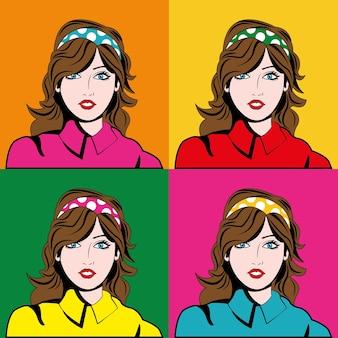 Concept de pop art représenté par l'icône de dessin animé de fille