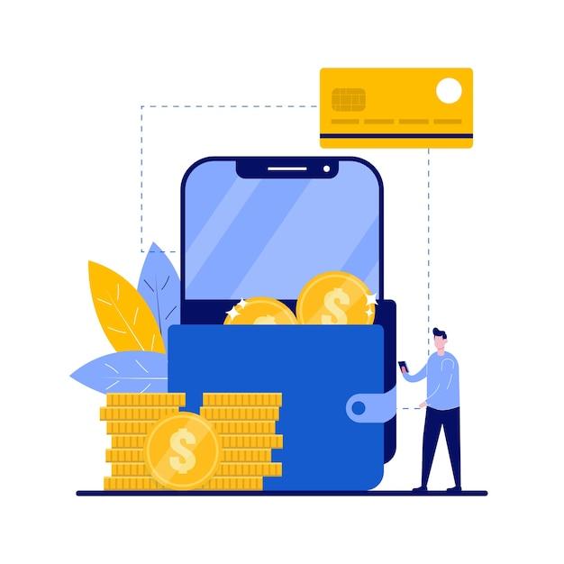 Concept de portefeuille intelligent avec caractère. retrait de crypto-monnaie, paiement électronique.
