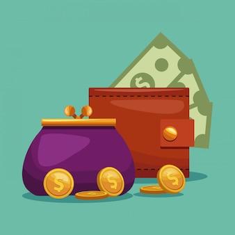Concept de portefeuille et porte-monnaie