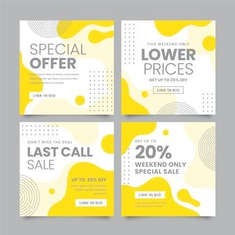 Concept de poste instagram jaune et gris