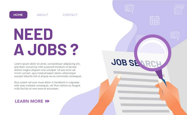 Concept de poste vacant pour la page de destination. la rareté même des postes vacants en raison de la pandémie du virus a fait de nombreuses personnes au chômage