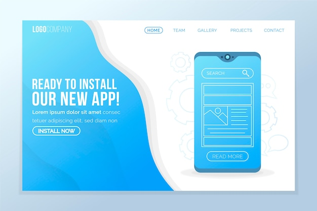 Concept pour la page de destination d'affaires avec mobile