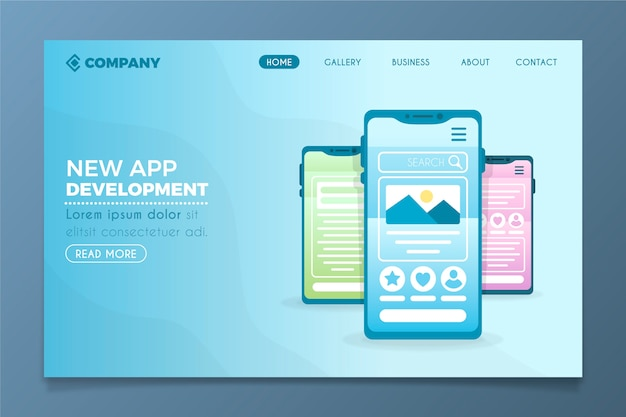 Concept pour la page de destination d'affaires avec un modèle de téléphone