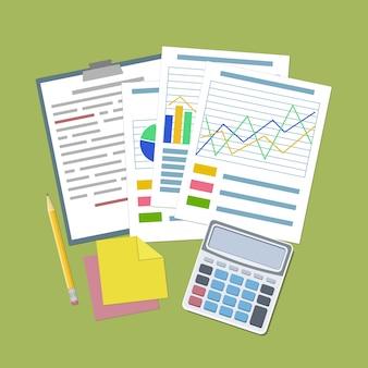 Concept pour la planification d'entreprise et la comptabilité, l'analyse, le concept d'audit financier, l'analyse seo, le contrôle fiscal, le travail, la gestion. graphiques et tableaux analytiques, tablette, calculatrice, autocollants, crayon vecteur