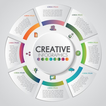 Concept de présentation d'entreprise avec modèle d'infographie style engins 8 étapes business et industrie