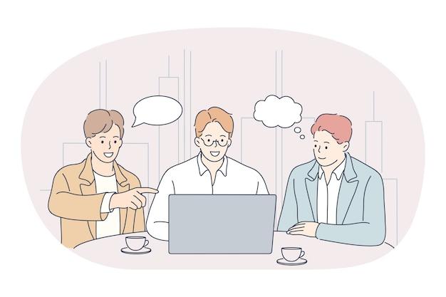 Concept de présentation d'entreprise de négociations de travail d'équipe