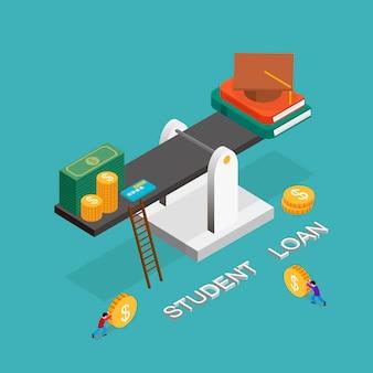 Concept de prêt étudiant au design plat isométrique 3d