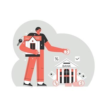 Concept de prêt hypothécaire. le personnage de l'homme transfère de l'argent à la banque, paie le prêt à la banque. un homme paie une hypothèque à une banque.