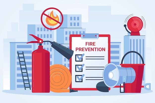 Concept de prévention des incendies design plat dessiné à la main