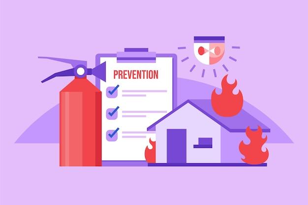 Concept de prévention des incendies design plat